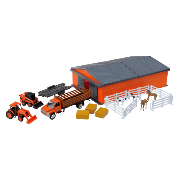 Murdoch S New Ray Toys Kubota Farm Tractor With Machine Shed Set Farm Trucks Playground Areas Shed