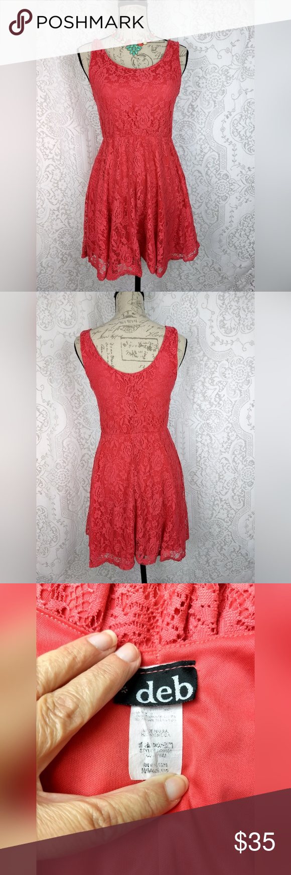 Deb Lace Mini Sundress Dress Size M Deb women's mini dress coral salmon pink crochet lace sleeveless short sundress  size medium  Chest 30 inches Waist 22 inches unstretched elastic Length 31 inches (shoulder to hem) Excellent condition, no rips or stains  *Necklace not included*  From a smoke free home Deb Dresses Mini #shortsundress Deb Lace Mini Sundress Dress Size M Deb women's mini dress coral salmon pink crochet lace sleeveless short sundress  size medium  Chest 30 inches Waist 22 inche #shortsundress