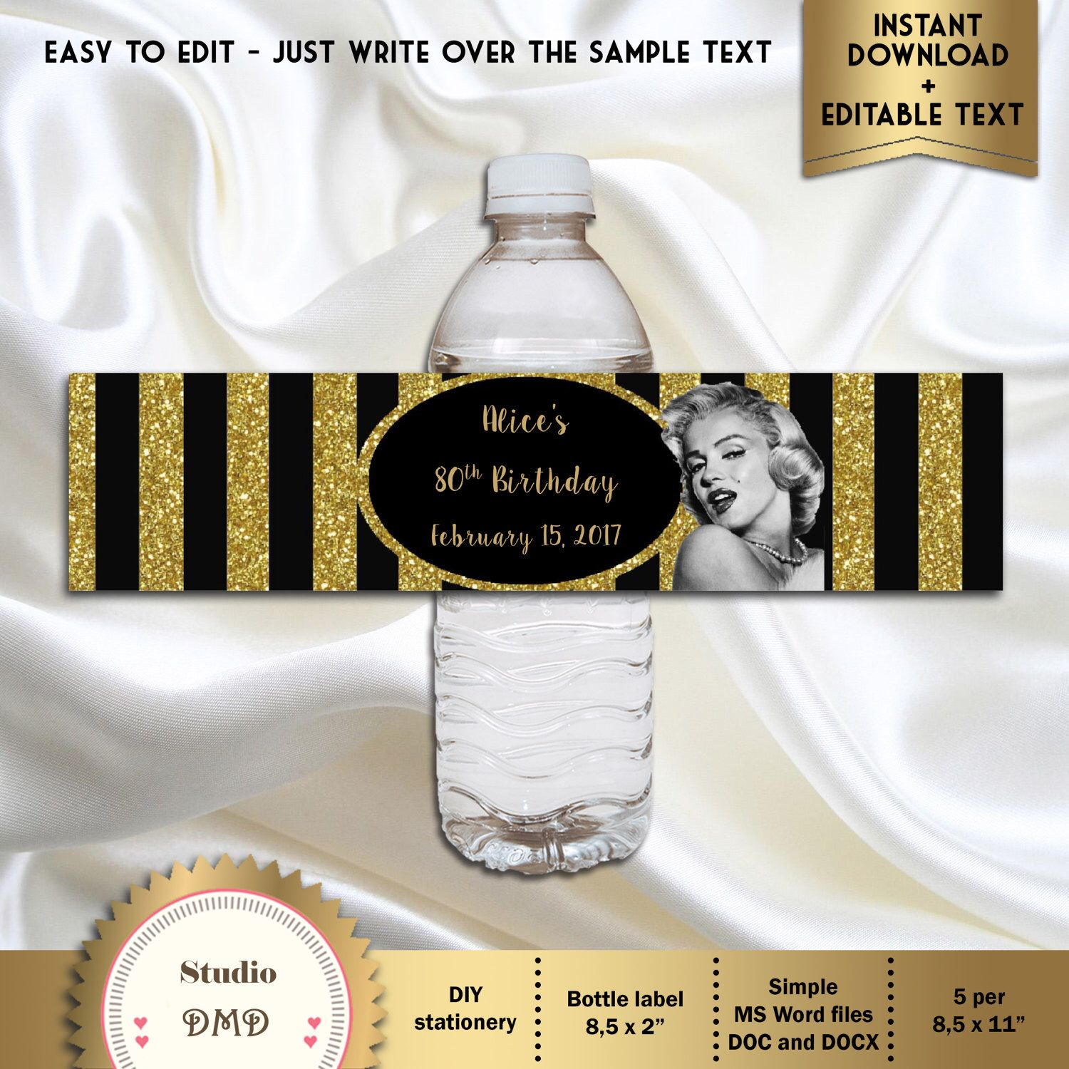 Printable Water Bottle Labels  Marilyn Monroe Old Hollywood