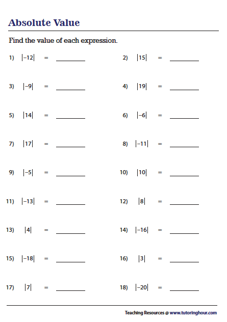 Amazing absolute value worksheets Most Effective
