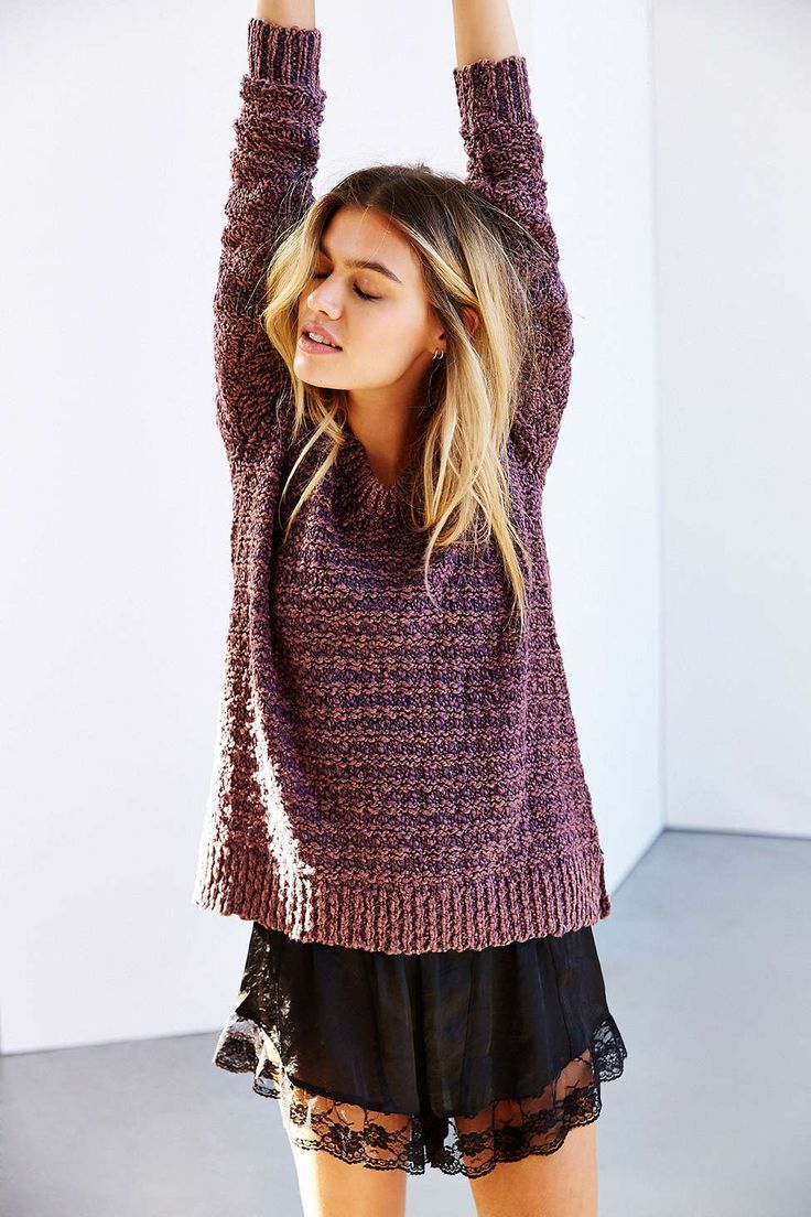 lace shorts and chunky knit sweater