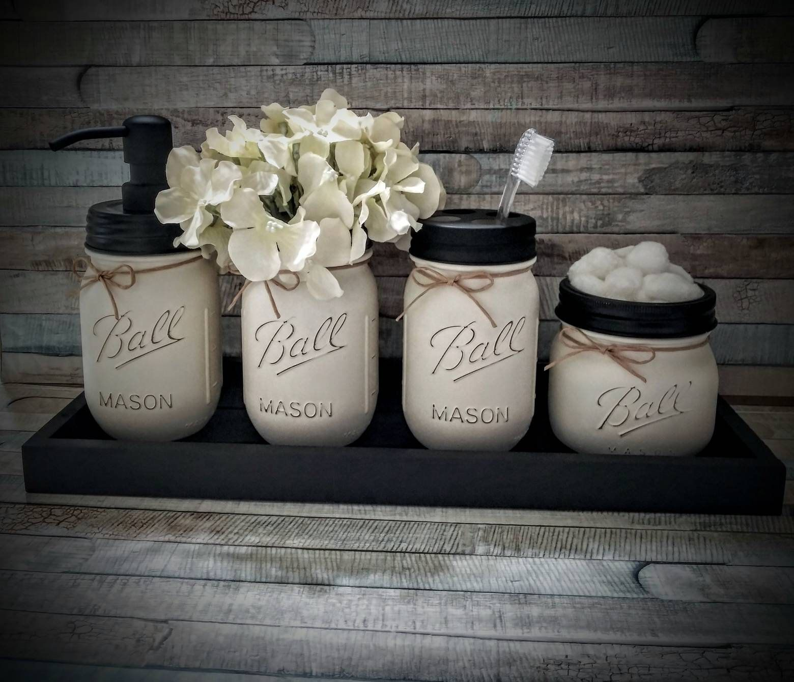 4 Piece Mason Jar Bathroom Set,Bathroom Set, Bathroom Storage
