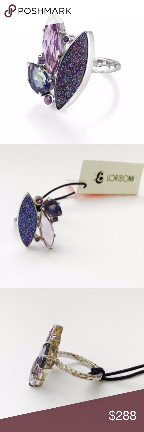 Lori Bonn Sterling Silver Pizzazz Cluster Ring 9 STERLING SILVER ASSORTED BLUE DRUZY, AMETHYST, MYSTIC FIRE QUARTZ AND IOLITE CLUSTER RING APPROX. 28MM L X 20MM W RING FACE IMPORTED CARE: WIPE WITH A SOFT POLISHING CLOTH Lori Bonn Jewelry Rings