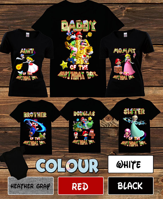 Super Mario Birthday T-shirts Super Mario Birthday Family matching T-shirts