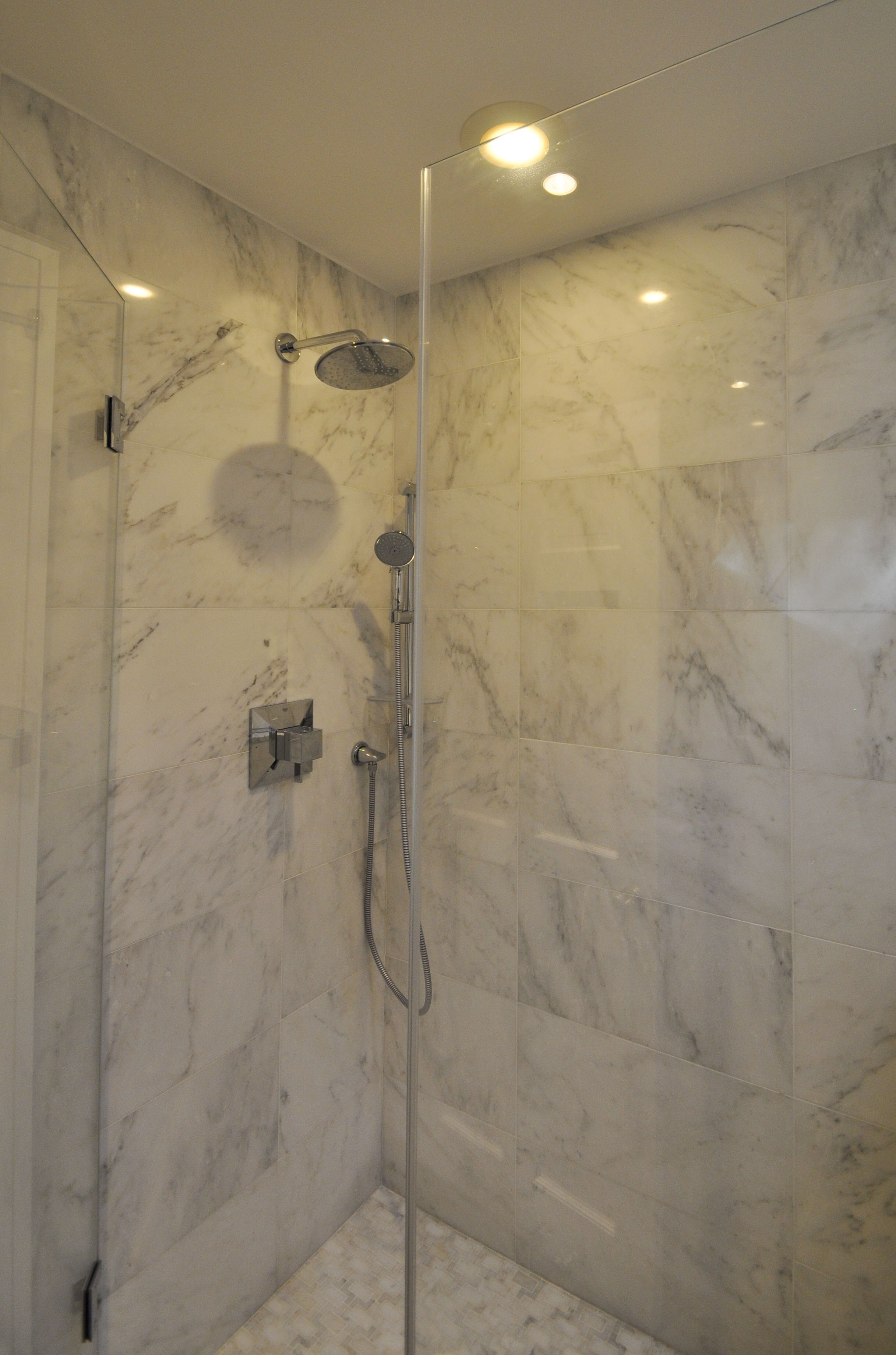 3421bd bathroom vanity ideas - Marble Stand Up Shower With Chrome Fixtures And Frameless Shower Doors