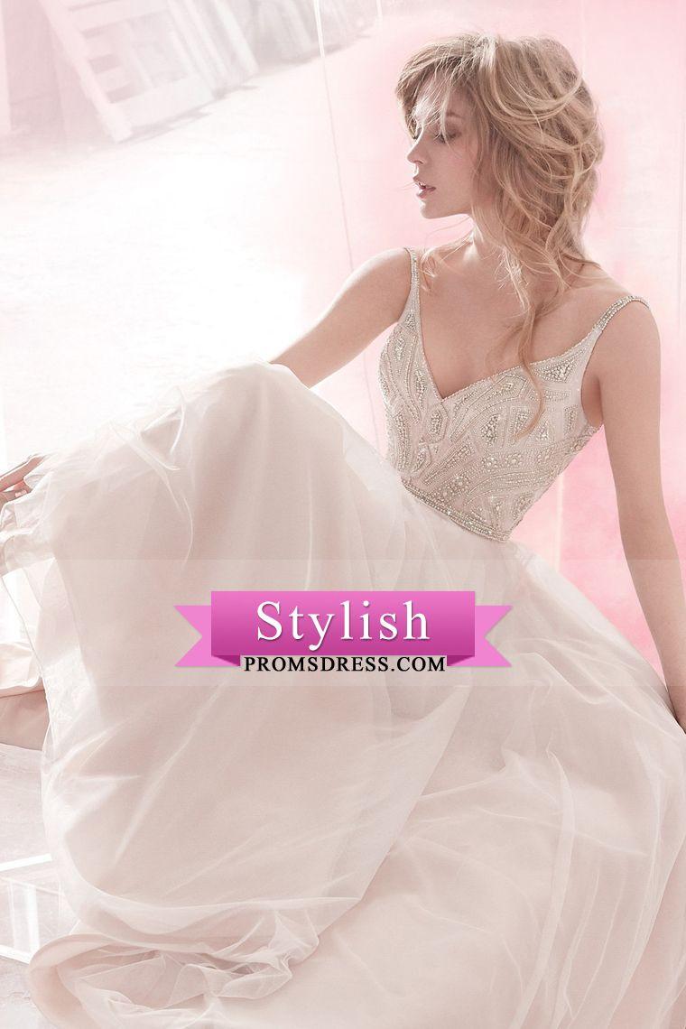 Beaded spaghetti strap wedding dresses   Spaghetti Straps Wedding Dresses Beaded Bodice Chiffon A Line