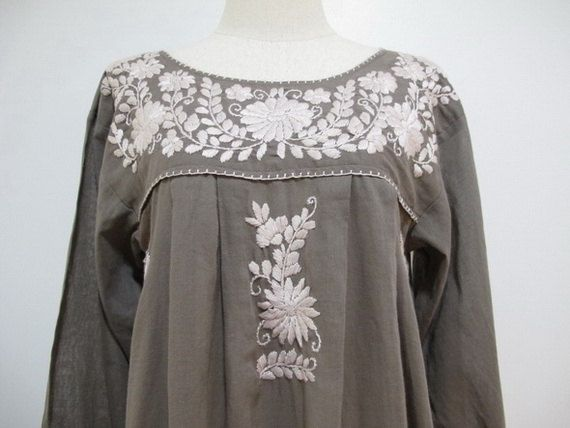 83e35e383293a Mexican Embroidered Dress Long Sleeves Tunic, Boho Dress | My Style ...