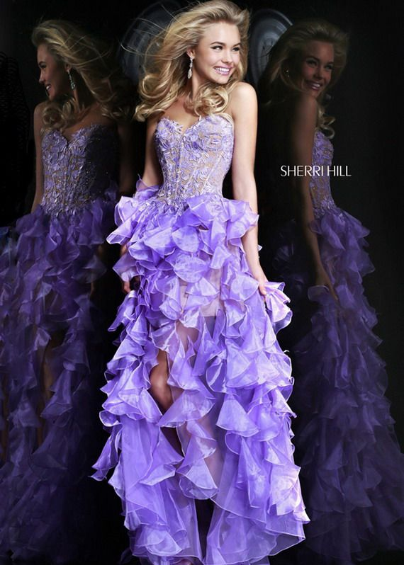 Lilac Embroidered Top Strapless Ruffled High Low Evening Dress