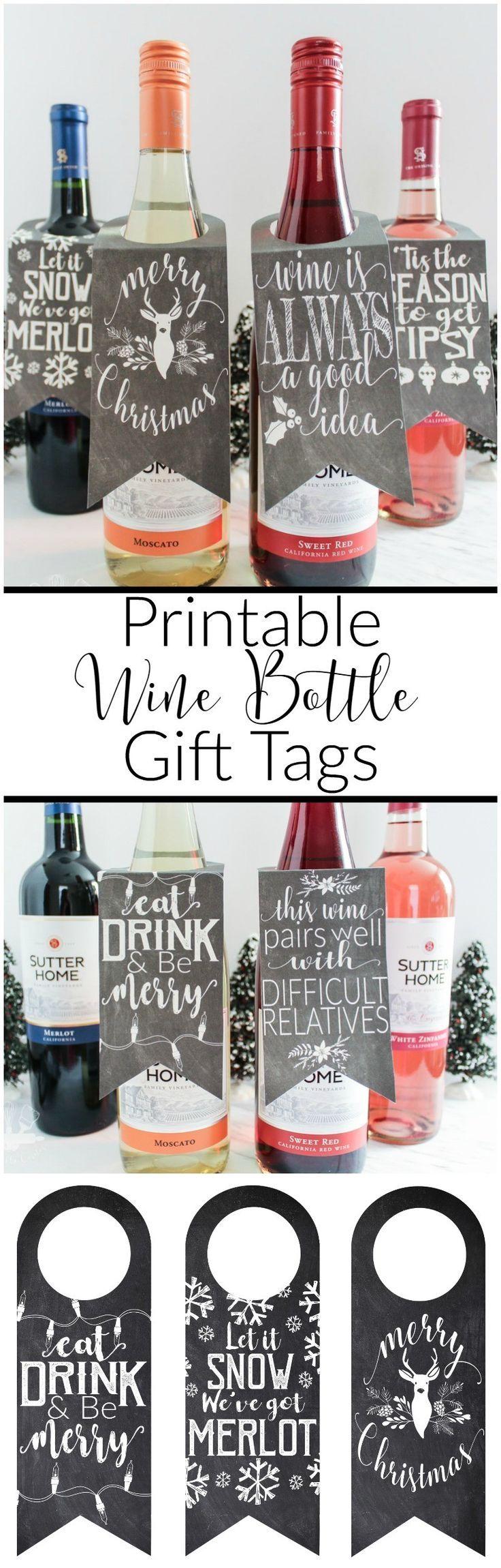Printable Wine Bottle Gift Tags | Wine bottle gift, Wine and Bottle