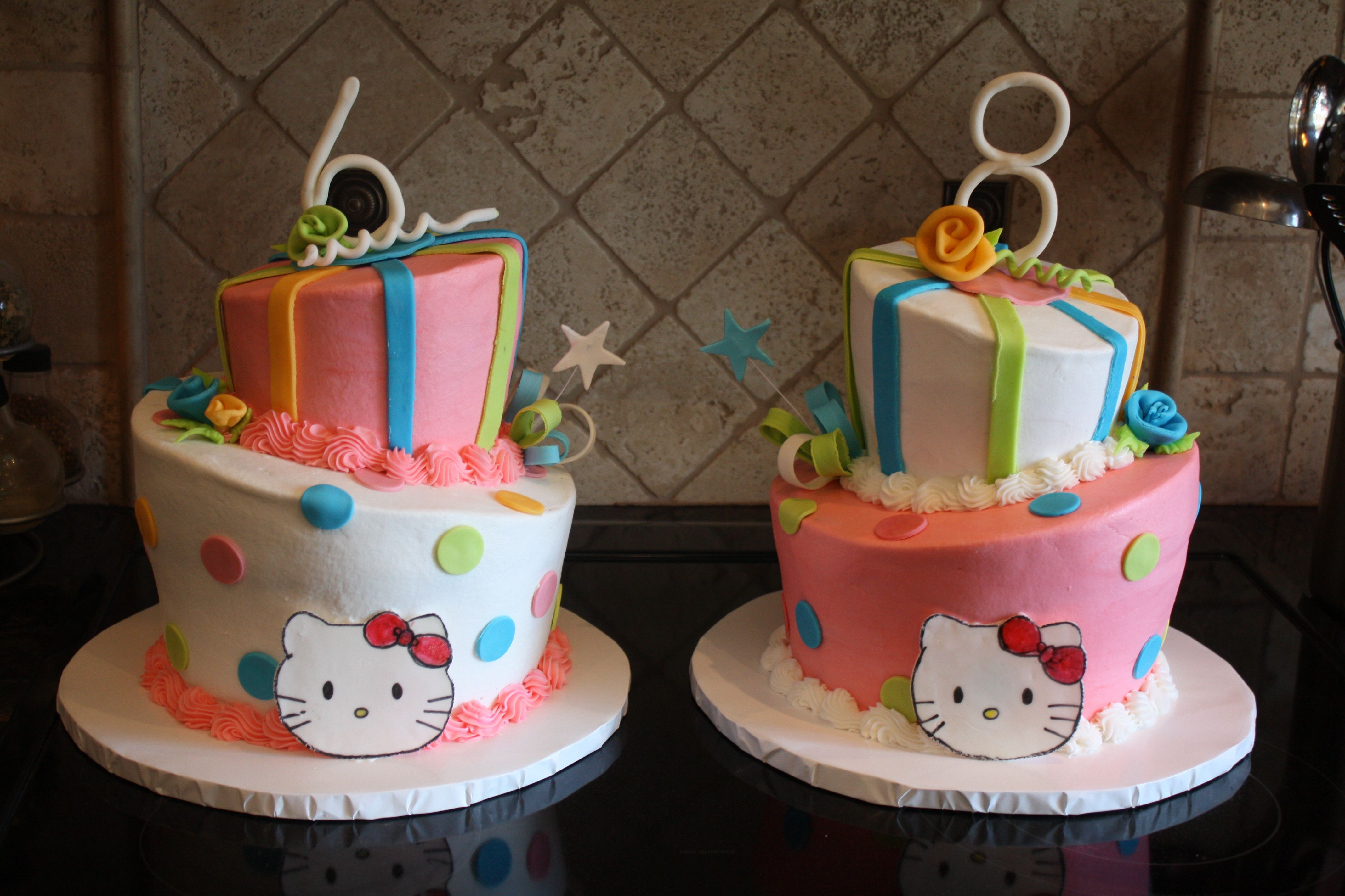 - This is for two little girls that have their birthdays a few days apart. They wanted Hello kitty. So I did them the opposites of each other.
