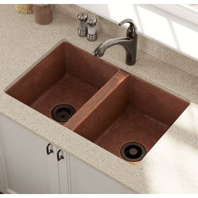 Polaris Sinks 33 L X 22 W Equal Double Bowl Copper Undermount