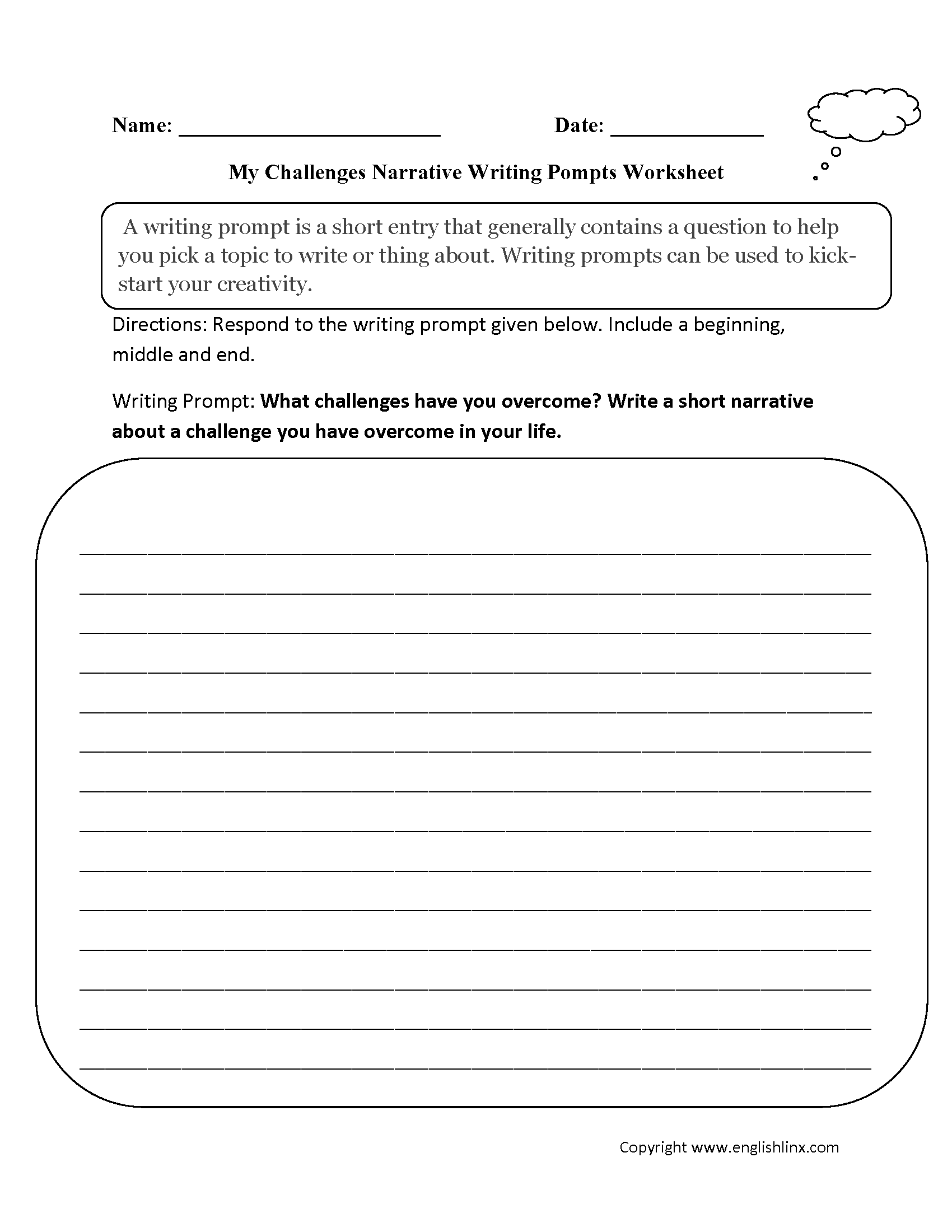 Challenges Narrative Writing Prompts Worksheets With