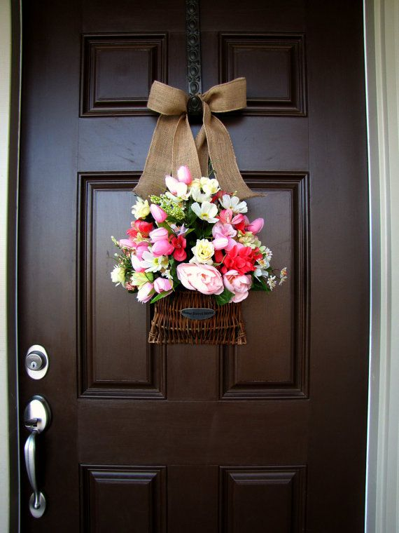 Front Door Home Sweet Flower Basket With Burlap Bow Year Round Wreath Spring Time