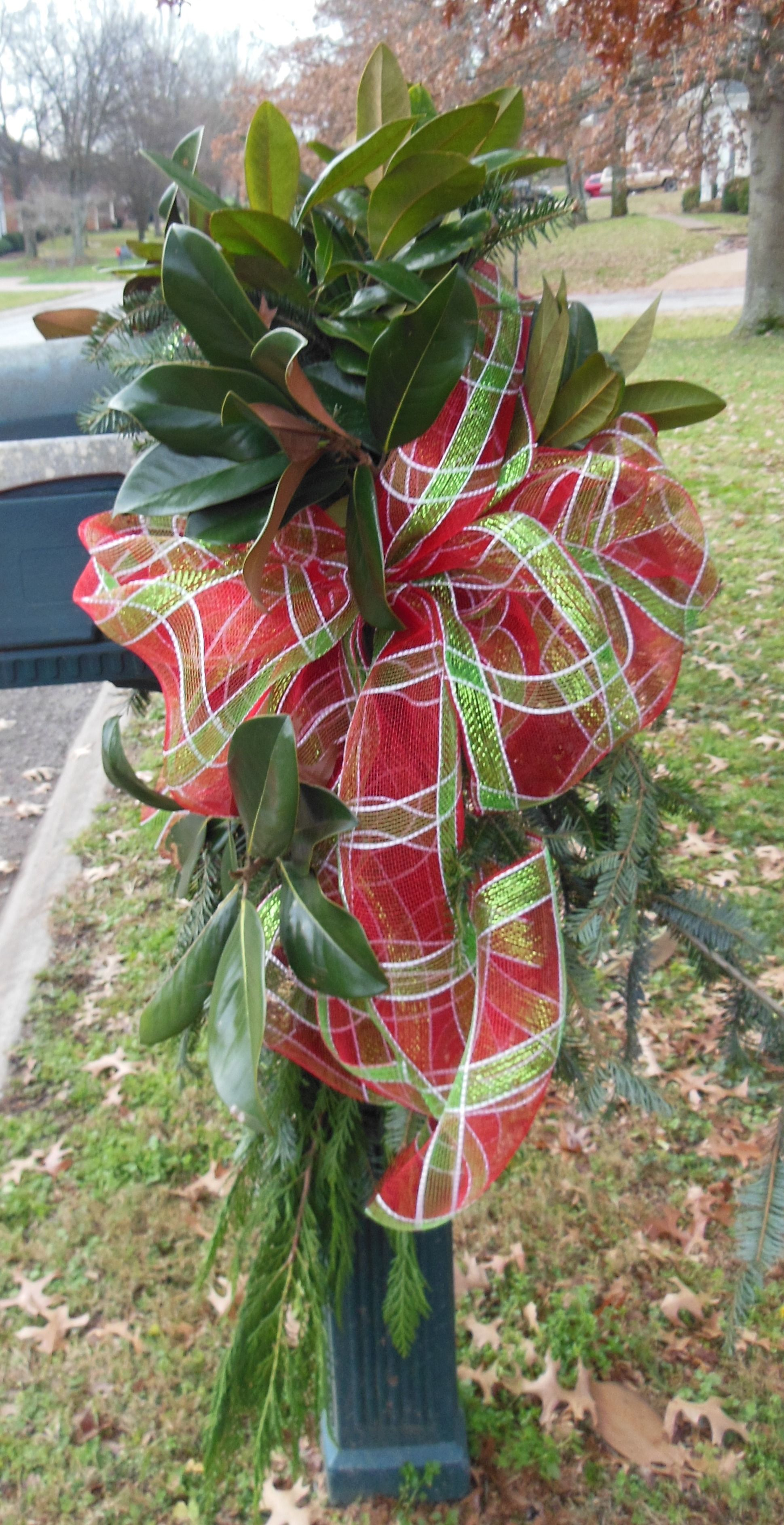 Red & Lime Green Plaid tied around mixed Greenery - Christmas ...