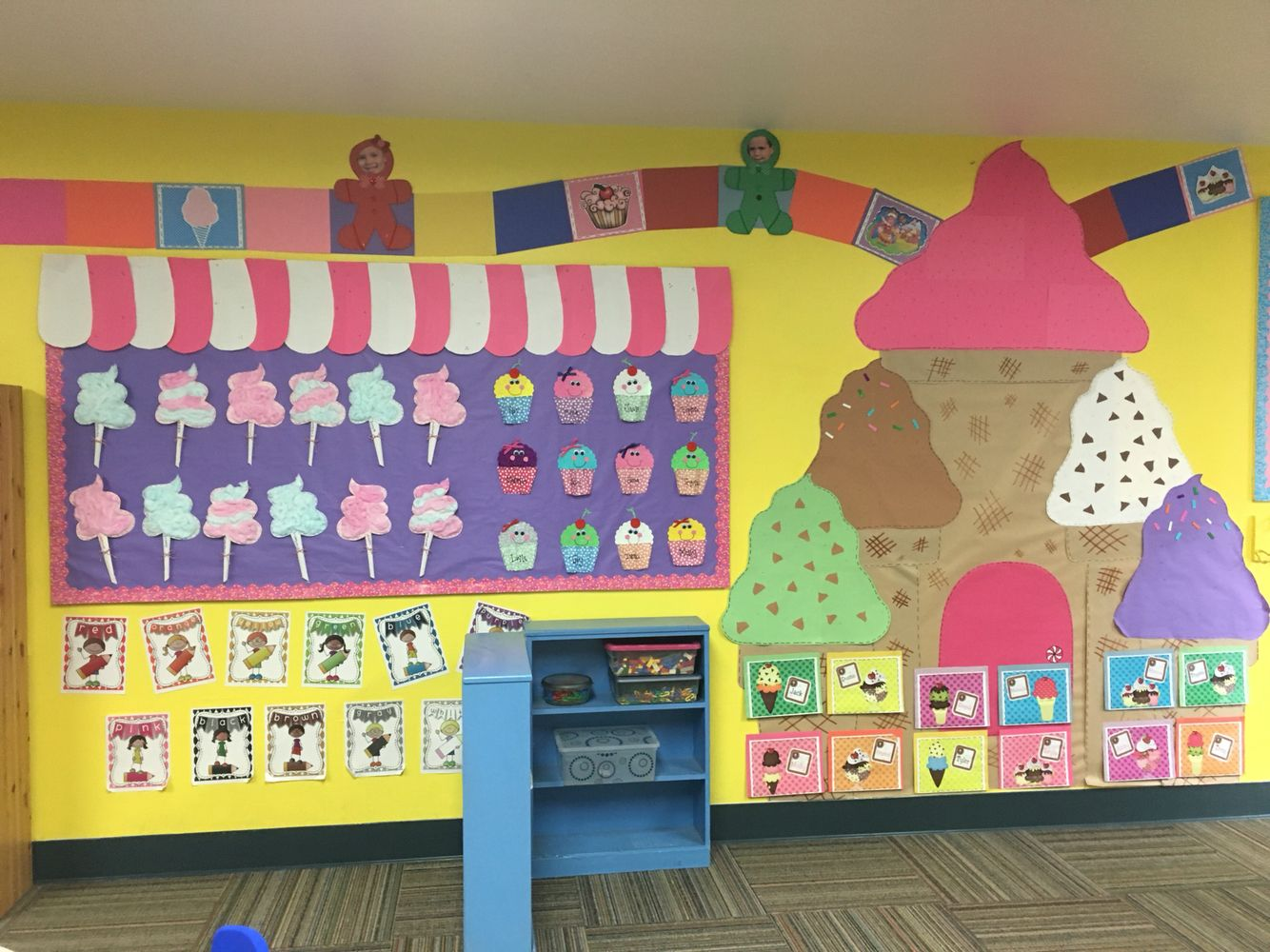 Candyland Theme Bulletin Board With Cotton Candy And Cupcakes Above The Bulletin Board Is A Game B Candy Theme Classroom Sunday School Decorations Candyland