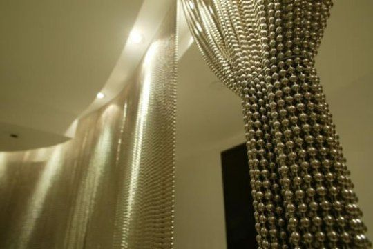 A Modern Bead Curtain Shimmer Screen Living Room
