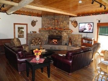 Country Style Real Stone Big Corner Fireplace