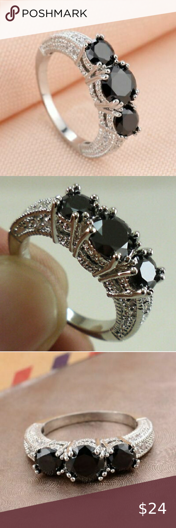 10k White Gold Filled Black Sapphire Ring In 2020 Black Sapphire Ring Womens Jewelry Rings Black Sapphire