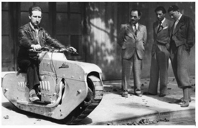 Tracked Motorcycle, 1938, of  J Lehaitre, Paris. Speed 25 m.p.h. Steering was accomplished by handlebars which controlled a sideways motion ...