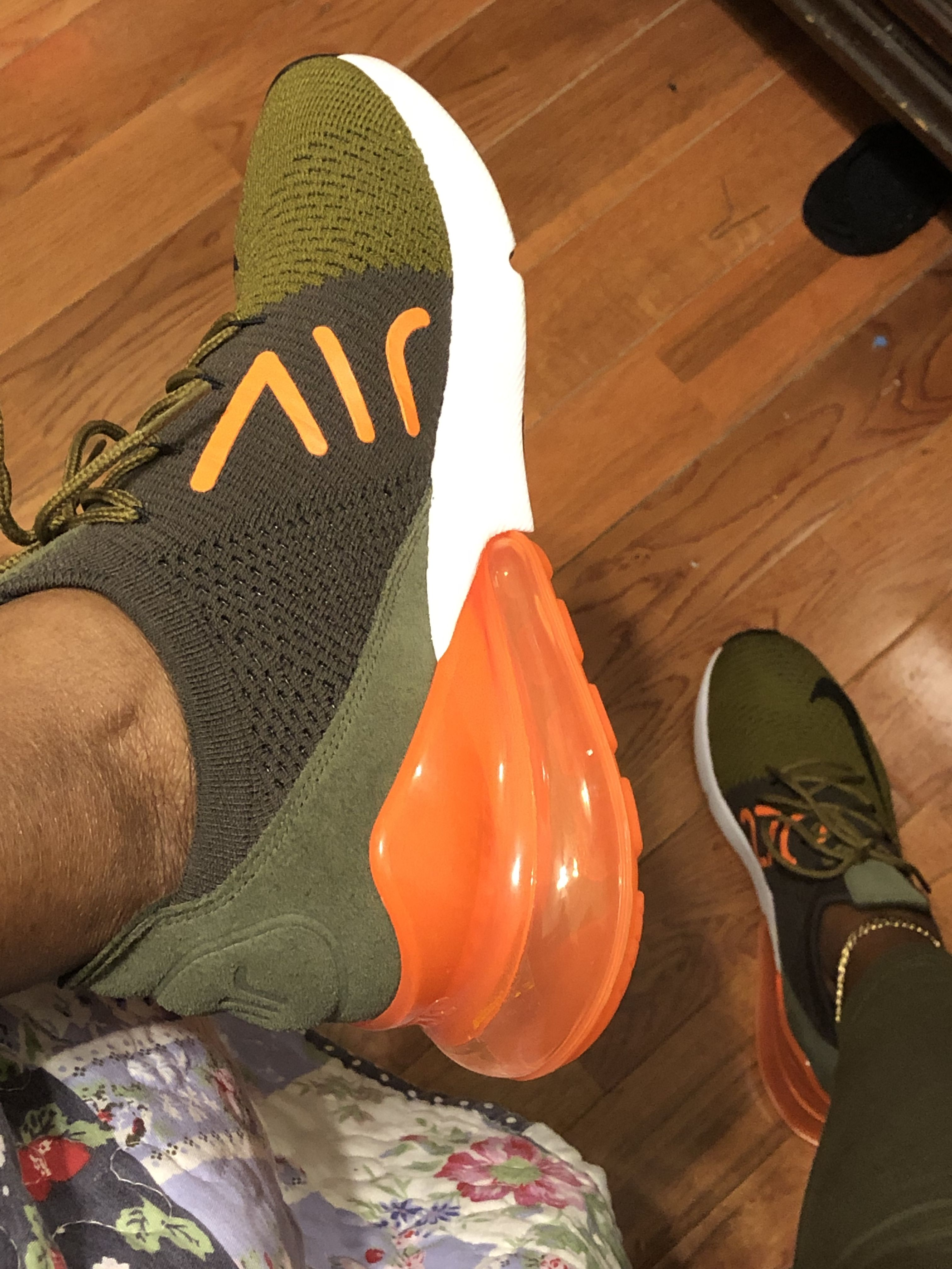 Olive green shoes, Orange sneakers