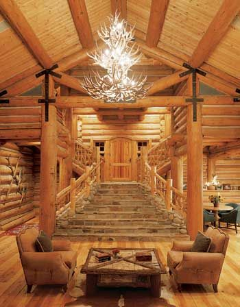 Guide to designing the perfect log home staircase grand staircase guide to designing the perfect log home staircase cabin chandelierdeer mozeypictures Choice Image