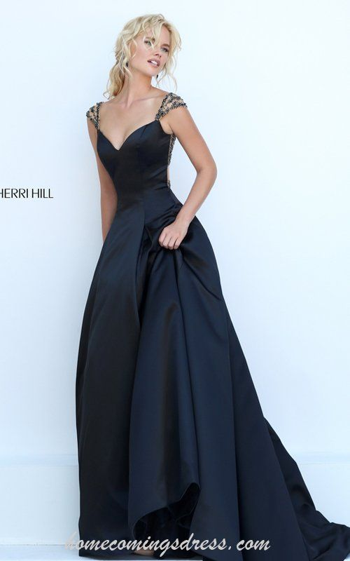 Floor Length Sherri Hill 50229 Black Sexy Beads Ball Gown