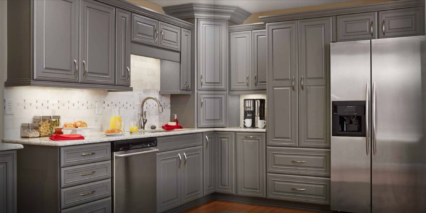 Grey stained kitchen cabinets google search logan blvd for Grey wood kitchen cabinets