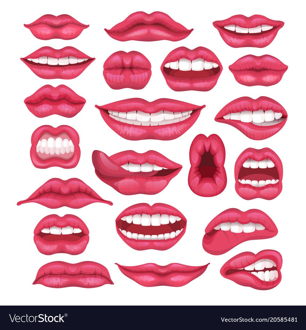 Lip Cartoon Beautiful Red Lips In Kiss Or Vector Image Ad