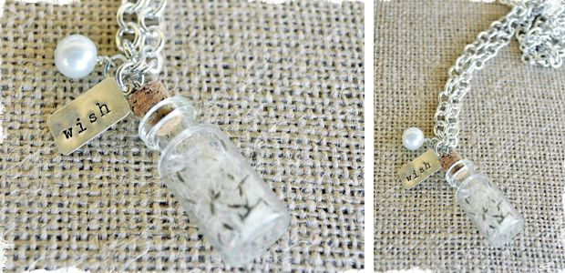 filled with dandelion wishes, wear it close to your heart http://www.ecrafty.com/c-517-mini-glass-bottles.aspx?pagenum====pricedescending=60