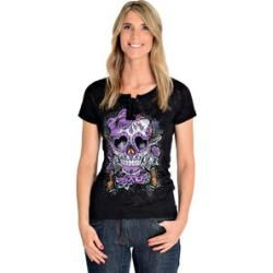 Lethal Angel Damen T-Shirt Sugar Skull grau M