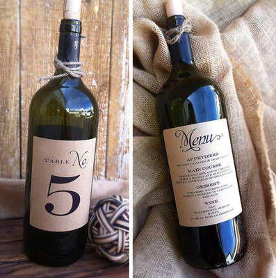 Wine Bottle Table Number Menu Labels