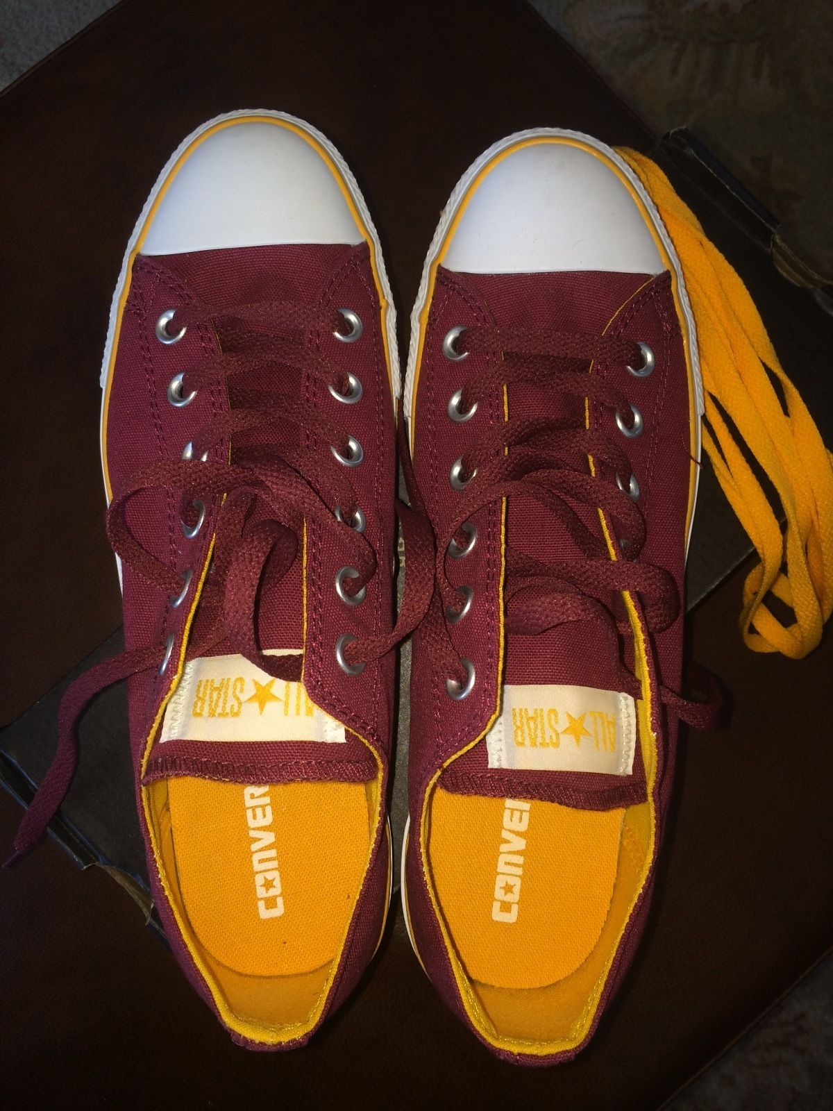 Converse Chuck Taylor Burgundy and Gold Men 8 Women 10 Shoes Red