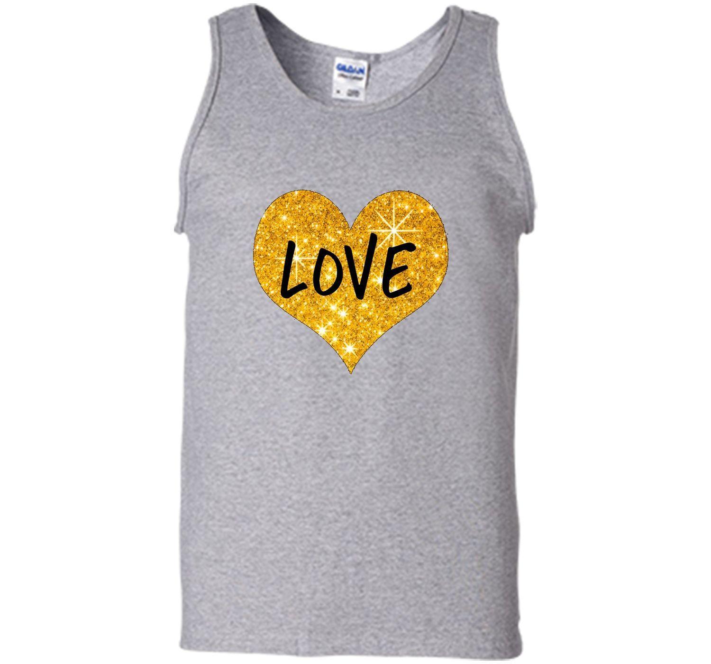 Valentines Day Shirt For Women Girls Love Gold Heart