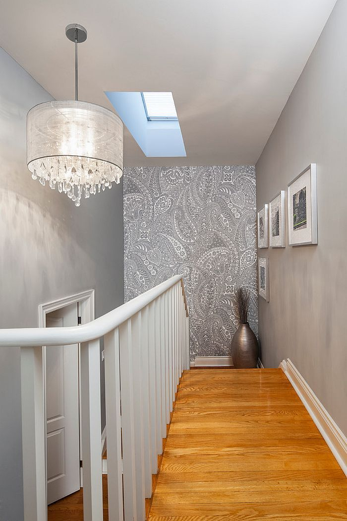 Good Chic Wallpaper In Gray With Paisley Pattern For The Staircase Wall   Decoist