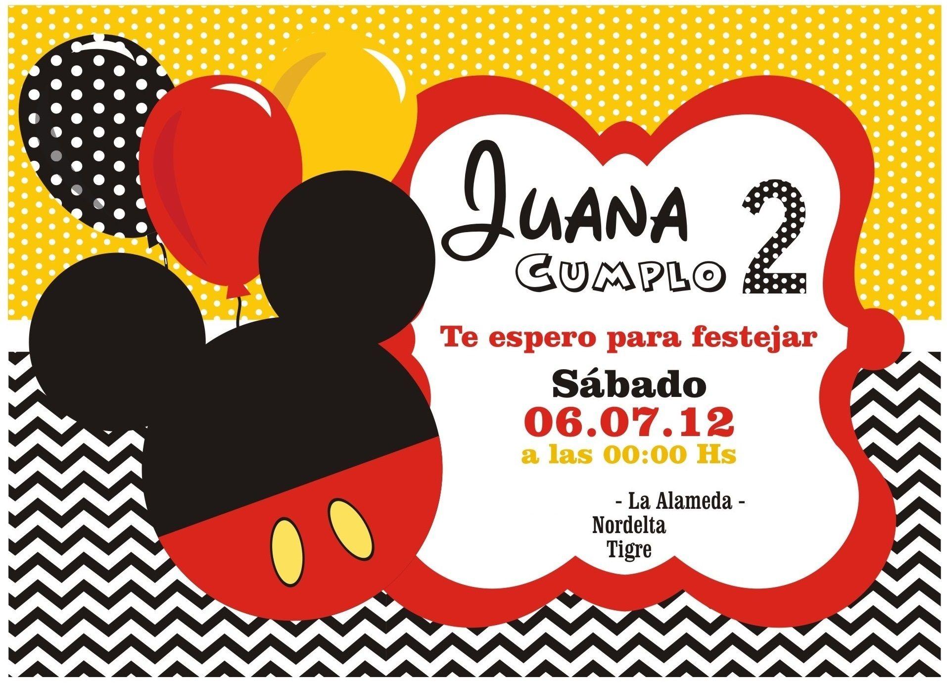 Invitaciones De Cumpleaños Mickey Mouse - Wallpaper En Hd ...