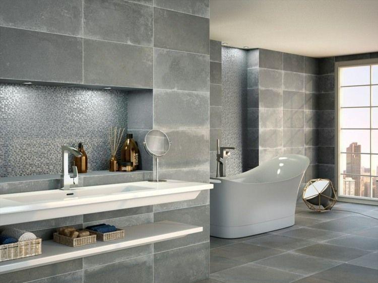 Effet beton sur carrelage mural for Beton cire sur carrelage mural salle de bain