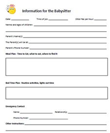 helpful, printable charts (including babysitter info) | Child care ...