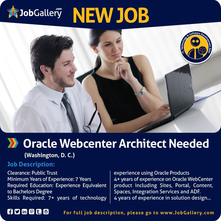 Oracle Webcenter Architect Needed  Washington DC Jobs