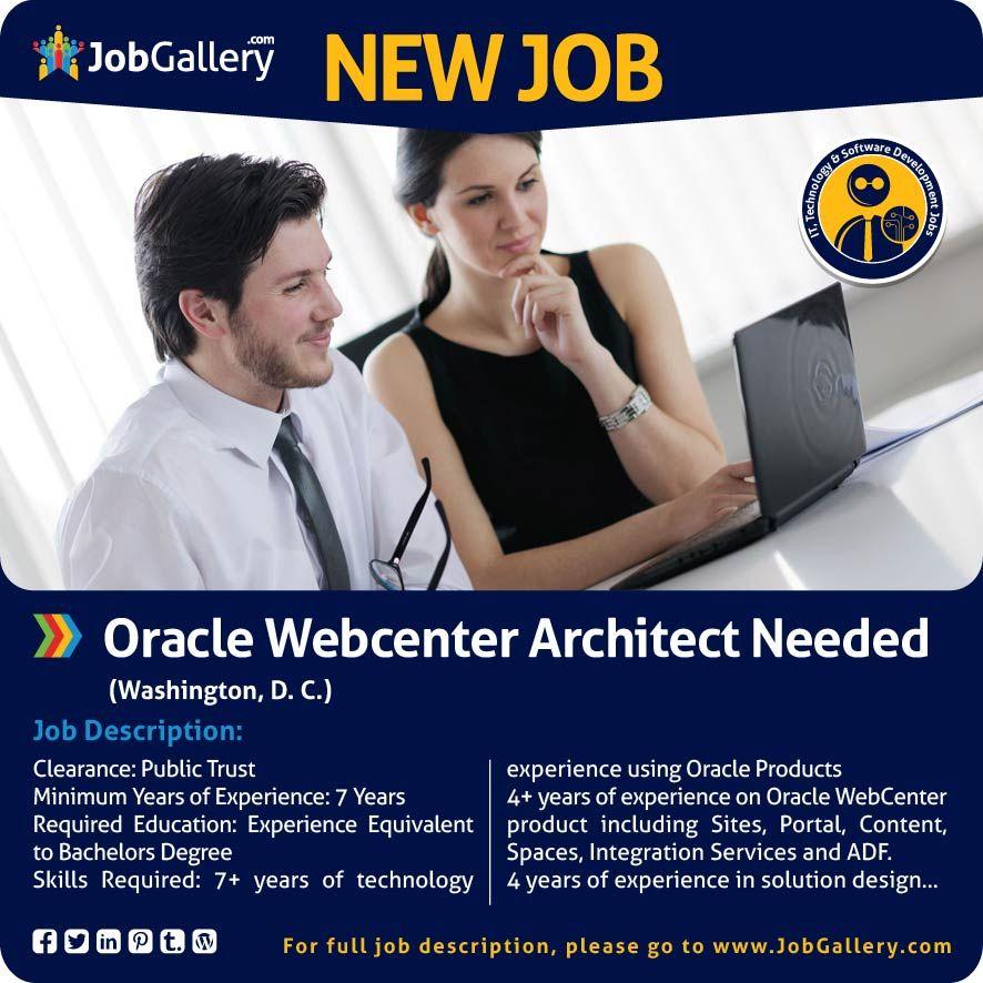 Oracle webcenter architect needed washington dc jobs