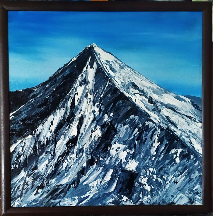 Rich the aim,  mountains, original framed landscape oil painting, bedroom art (2020) Oil painting by Nataliia Plakhotnyk - #bedroom #framed #landscape #mountains #original #painting - #LandscapeOilPaintings