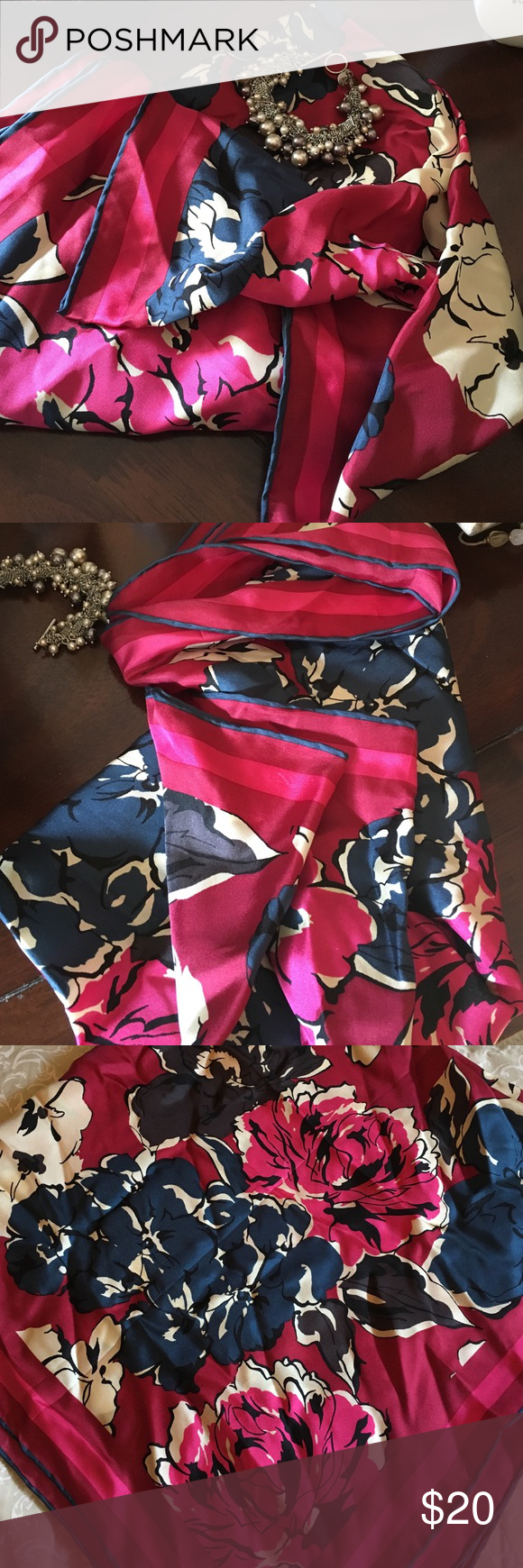 Talbots Square floral Silk Scarf Beautiful floral pattern silk scarf. Worn once. Talbots Accessories Scarves & Wraps