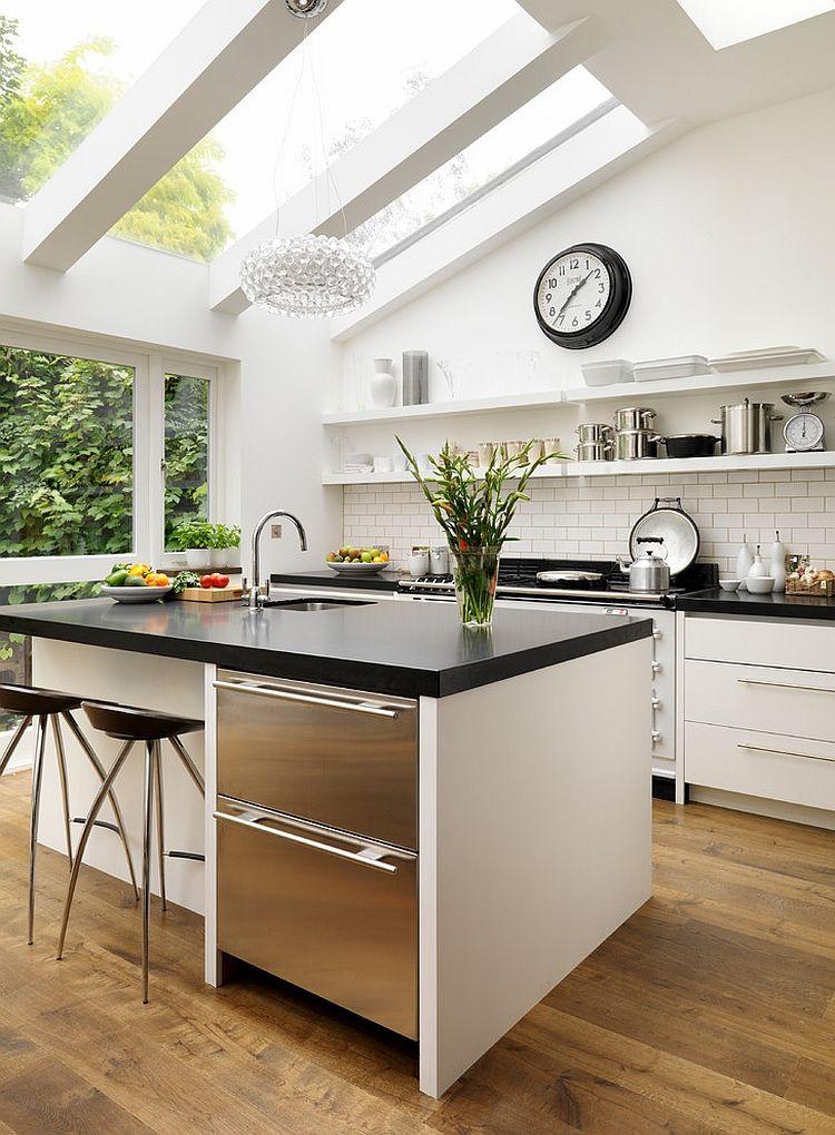Exquisite bespoke kitchen design with skylights