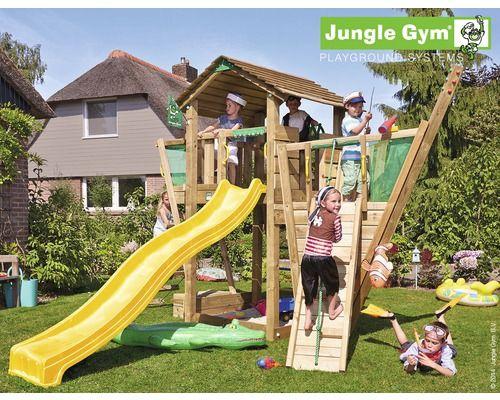 b9363488014afd Tour de jeux Jungle Gym Cottage   Boat bois avec bac à sable, corde à  grimper, toboggan jaune