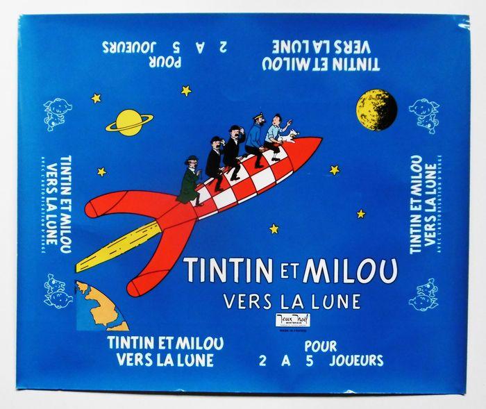 """Tintin - Epreuve d'imprimerie boîte de Jeux Noël Montbrison - """"Tintin et Milou vers la lune"""" - (1965) - W.B."""