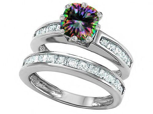Original Star K Tm Cushion Cut 7mm Rainbow Mystic Topaz Engagement Wedding Set 169 99 Guaranteed Authentic From The Designer Line
