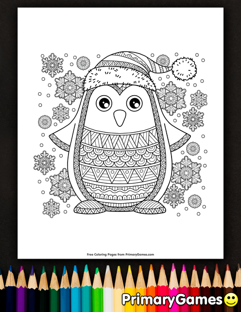 Jolly Penguin Coloring Page Free Printable Ebook Penguin Coloring Pages Penguin Coloring Kids Christmas Coloring Pages