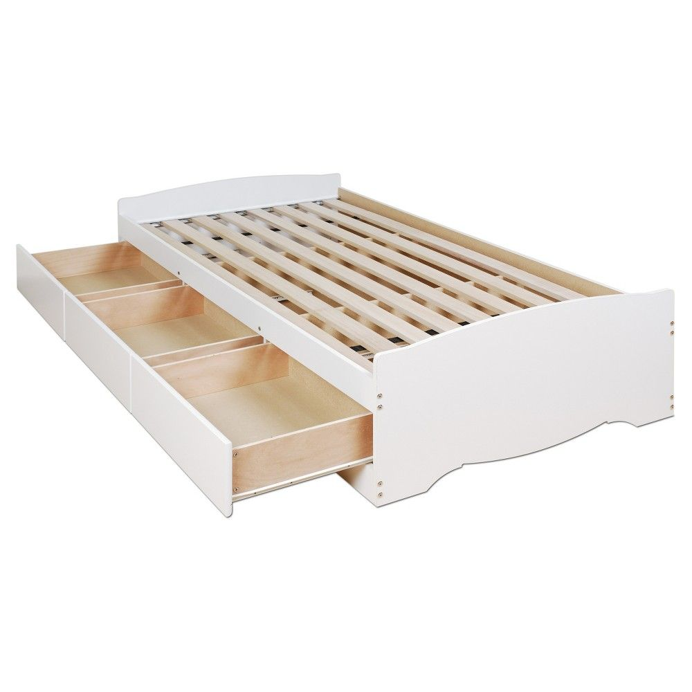 drawer Platform Storage Bed -Twin - White - Prepac