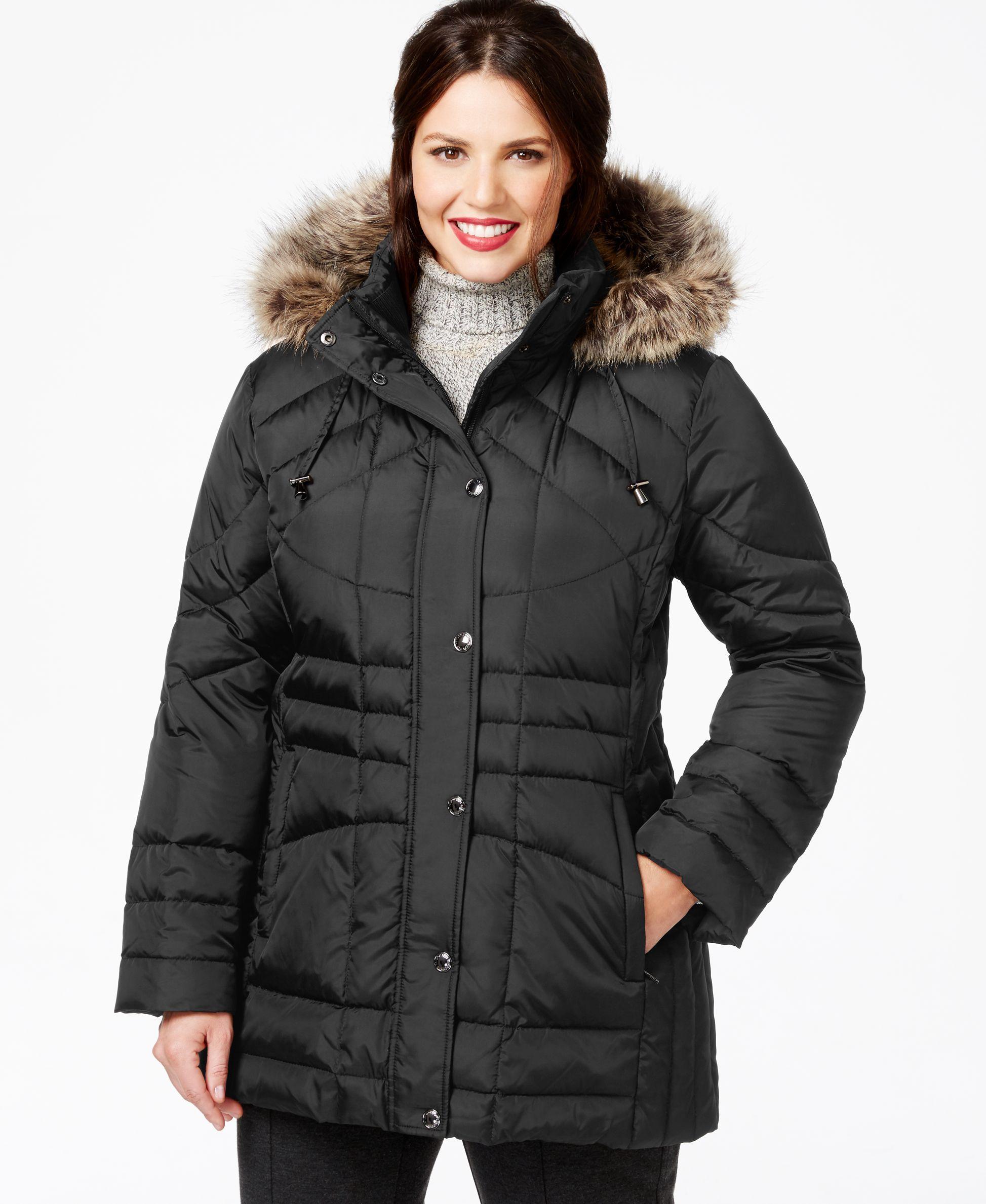 29c6611eb099b London Fog Plus Size Faux-Fur-Trim Down Coat