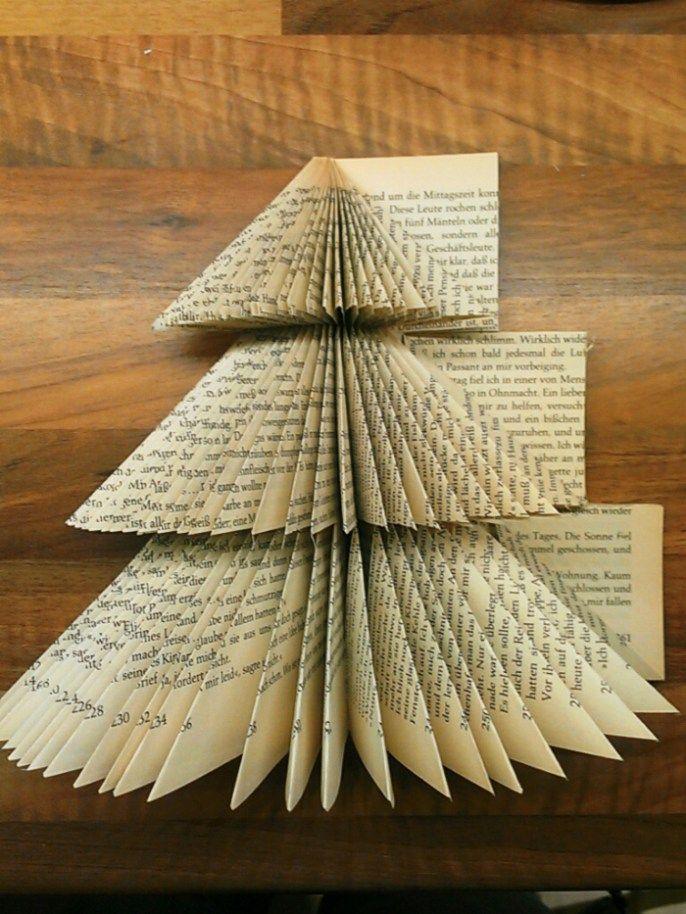 Diycreation Weihnachtsbaum Gefalten 8 Diy Book Book Christmas Tree Book Page Crafts
