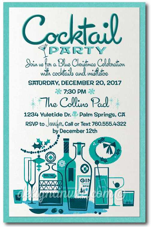 Retro MidCentury Modern Cocktail Holiday Party Invitation